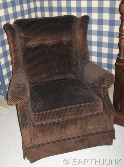 Ethan Allen Corduroy Upholstered Chair Matches Antiqued Tavern Pine  Collection