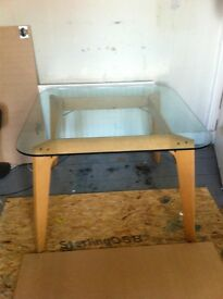 Glass Kitchen table with ply legs, retro, vintage