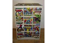 4 DRAWER CHEST OF DRAWERS PAINTED IN OFF WHITE & COVERED IN MARVEL DESIGN