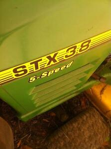 PARTING OUT TWO JOHN DEERE STX38 TRACTORS 38 INCH DECH 12.5HP