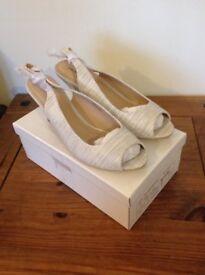 Ladies Peep Toe Sling Back Sandals - Size Uk 7 - Grey snakeskin - Brand New - £6