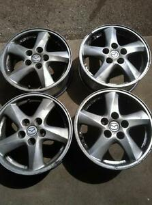 "4 - 2003 Mazda MPV Alloy Rims 16"" x 6.5"", 5 Lug, 114mm Bolt Pattern, 50mm Offset with Center Caps"
