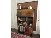 Small vintage oak bureau / display case with collectable contents