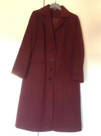 Ladies Winter Burgundy Long Coat