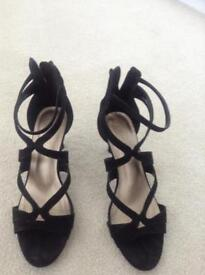 Ladies black suede heeled size 5 sandals