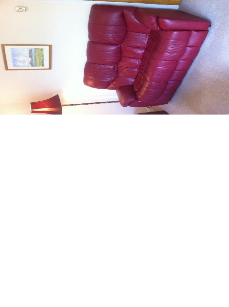 Large Claret Red Leather Sofa In Galashiels Scottish