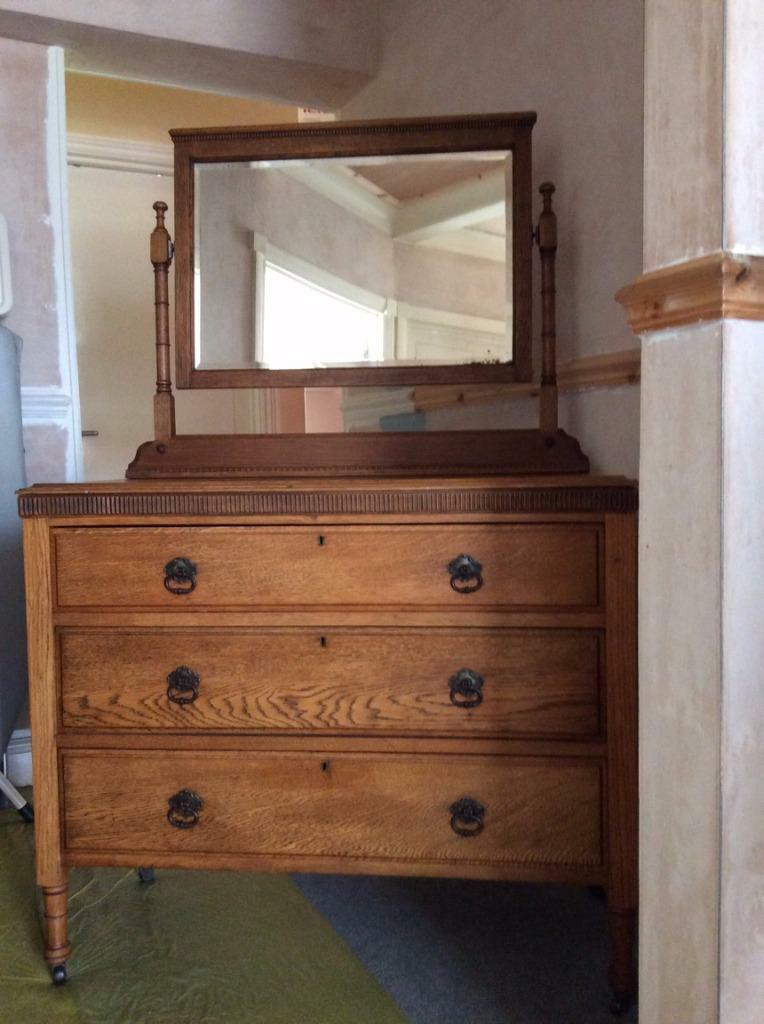 Oak dressing table with mirror and three drawers in for 90cm dressing table