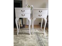 FRENCH LOUIS STYLE PAIR OF PAINTED WOOD BEDSIDE TWO DRAWER TABLES - LAURA ASHLEY PAINT