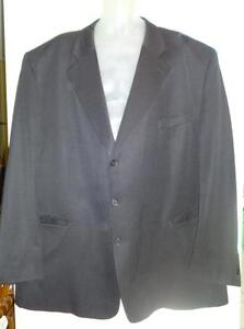 Mens 58 Big and Tall Suit Jacket No Pants / 100% Fine Wool Shipley Supreme / Made in Canada Black 3X XXXL