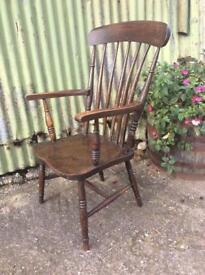 Gorgeous dark oak high back armchair carver