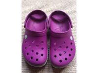 Girls purple/pink magenta Crocs. Size 5. Excellent condition.
