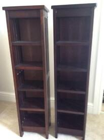 Two wooden shelf units