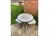 2 seater mosaic table & chairs garden set with seat cushions