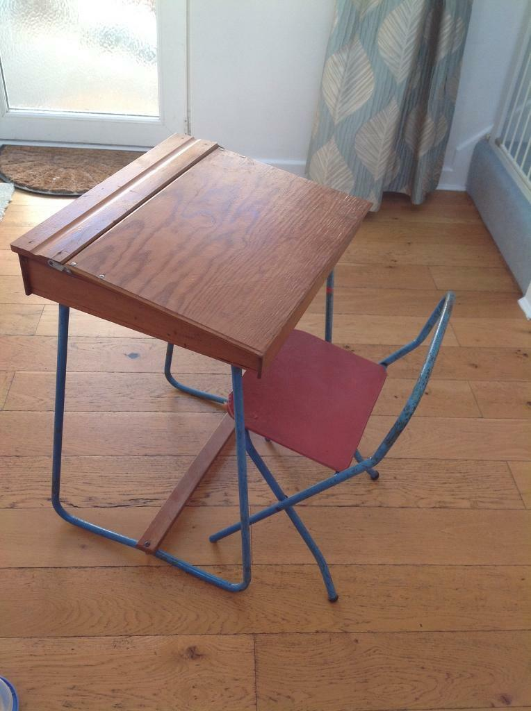 Childs vintage desk and folding chair | in Bournemouth, Dorset | Gumtree