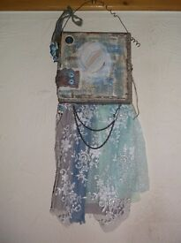 OOAK HANDCRAFTED MIXED MEDIA 'HOME & HEARTS' ALTERED ART KEEPSAKE CANVAS MEMORY ALBUM