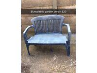 blue plastic garden bench
