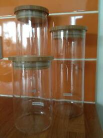 TESCOMA GLASS AND BAMBOO SET OF THREE STORAGE CANISTERS / JARS FROM JOHN LEWIS