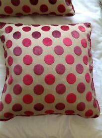 Laura Ashley large velvet spot x2 cushions