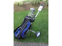 Full set of Dunlop Max golf clubs plus bag and trolley all in as new condition