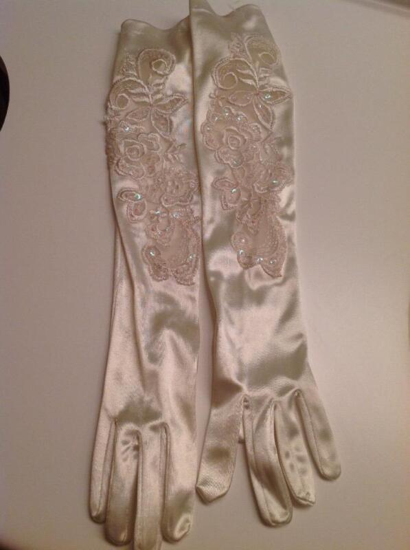 """Bridal Gloves Ivory Satin 18"""" Long Floral beaded One Size NEW without tags"""