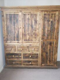 Reclaimed Pine Triple 7-drawer Wardrobe - PRICE REDUCED!