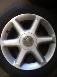 "4 - 2001 Nissan Maxima Alloy Rims 17"" x 7"", 5 Lug, 4.5"" Bolt Pattern with Very Good Laufenn All Season Tires 225/50 R17"