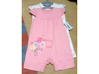 BNWT 2 x Matalan Baby Girl Rompers Size 3 - 6 months