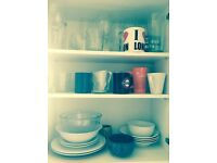 Dishes glasses pots boles