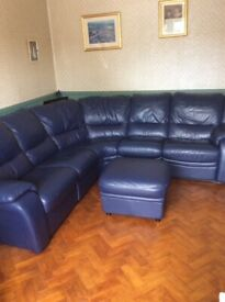 Leather Reclining Corner Suite With Storage Footstool