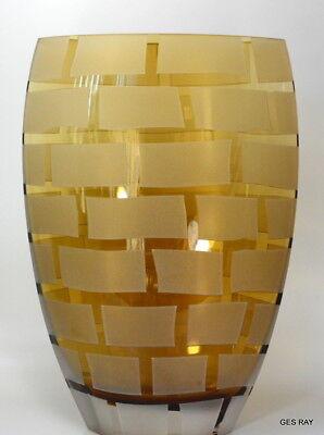 Modern Badash Crystal Art Glass Brick Frost Design Brick Glass Contemporary Vase