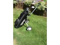 Set of Donnay pro one golf clubs with bag and trolley