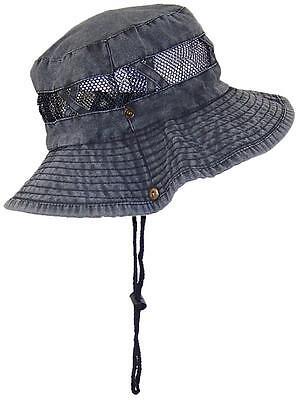 Tropic Hats Stonewash Bucket Summer Cap W/Snap Up Sides #908 Black W/Black -