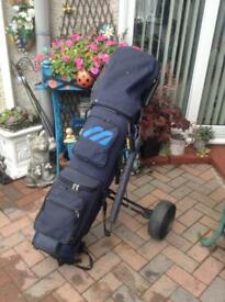 Full set of LEFTHANDED mazuno golf clubs 11 clubs in total .bag and trolly .