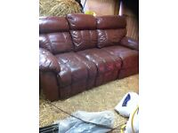 3 seater leather recliner and x2 one seater recliners