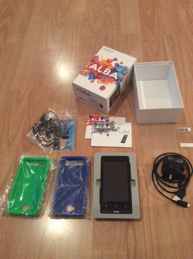 "Smartphone android dual sim unlockedin Caterham, SurreyGumtree - Selling unwanted smartphone android 4"" dual sim unlocked fully boxed with two cases one screen protector SIM card on 02 as new brought as spare phone barely used tested"