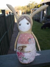 OOAK ALTERED FOLK ART UNIQUE FAIRYTALE RABBIT STORY TELLING HANDPAINTED DOLL