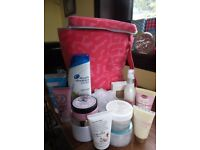 Soap and Glory duffle bag and various toiletries (Head and Shoulders, soap and glory etc