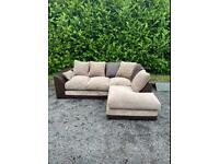 FREE DELIVERY 🚚 DUNELM BROWN FABRIC CORNER SOFA GOOD CONDITION