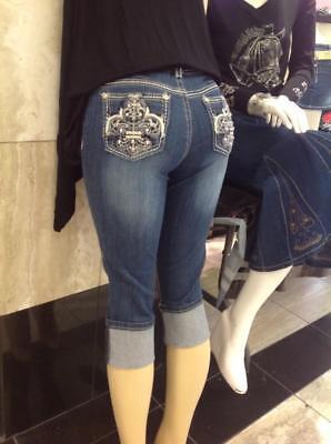 Bling Pocket Denim Capris Fleur Rhinestone Ladies Jeans Jr Size 1-15 ()