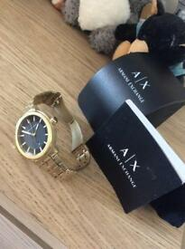 Gold plated stainless steel Armani watch