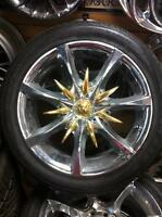 "CHROME & GOLD 17"" Sacchi Wheels HONDA/NISSAN Bolt pattern"