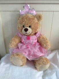 Build a Bear teddy with princess tiara and ball gown
