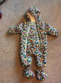 Girls Baby Boden Snowsuit & Jacket 0-3 months
