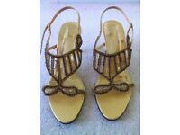 Gold diamante sandals