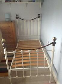 Laura Ashley Hastings ivory and brass single bedframe