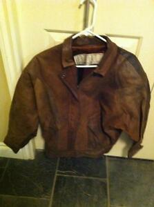 Women's Size Small Brown Genuine Leather Coat-Spring/Summer/Fall
