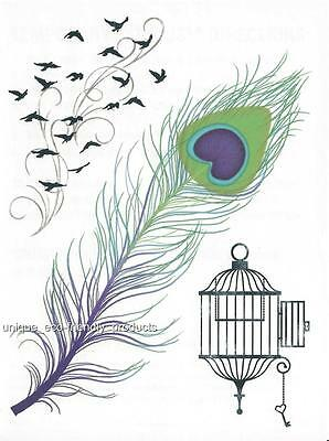 PEACOCK FEATHER, BIRDS IN FLIGHT OPEN BIRD CAGE LARGE SHEET temporary Tattoo