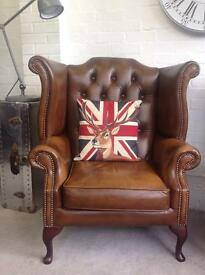 Lovely tan leather Chesterfield wingback armchair. Can deliver