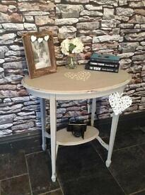 Console table hand painted shabby chic with stencil