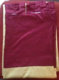 Tab top red & gold curtains fully lined 66in x 72 in drop excellent condition x 3 pairs